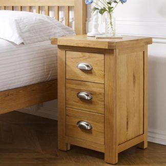 An Image of Woburn Wooden Large Bedside Cabinet In Oak With 3 Drawers