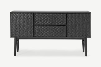An Image of Abbon Wide Sideboard, Textured Charcoal Washed Oak
