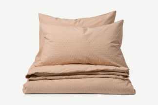 An Image of Veli 100% Cotton Plumetis Weave Duvet Cover + 2 Pillowcases, King, Plaster Pink