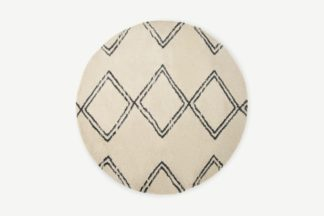 An Image of Caram Round Berber Style Rug, Large 200cm, Off-White & Charcoal Grey