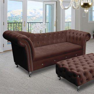 An Image of Izu Plush Velvet 3 Seater Sofa In Mushroom