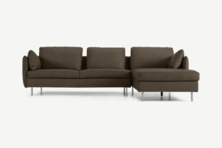 An Image of Vento 3 Seater Right Hand Facing Chaise End Sofa, Texas Brown Leather