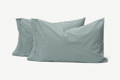 An Image of Zana 100% Organic Cotton Stonewashed Pair of Pillowcases, Seafoam