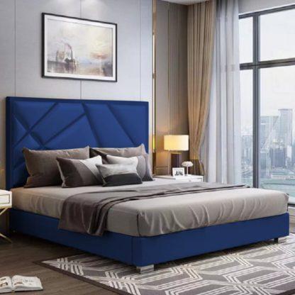An Image of Cherokee Plush Velvet King Size Bed In Blue