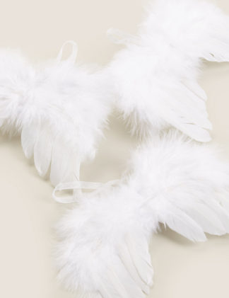 An Image of M&S 3 Pack Feather Wing Hanging Decorations