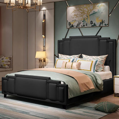 An Image of Enumclaw Plush Velvet Small Double Bed In Black