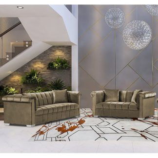An Image of Kenosha Velour Fabric 2 Seater And 3 Seater Sofa In Parchment