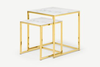 An Image of Alisma Nesting Tables, Marble Effect Glass & Brass