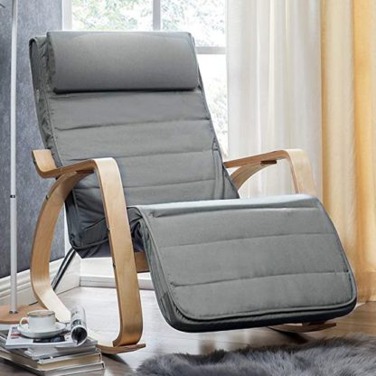 An Image of Orano Rocking Chair In Light Grey With Wooden Armrests
