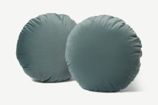 An Image of Julius Set of 2 Round Cushions, 45cm, Blue Slate