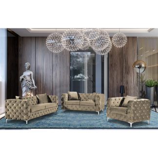 An Image of Mills Malta Plush Velour Fabric Sofa Suite In Parchment