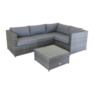 An Image of Rattan Grey Corner Sofa and Coffee Table Light Grey