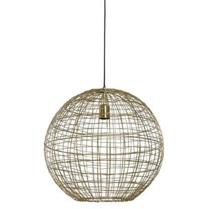 An Image of Round Metal Wire Pendant Light, Gold