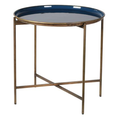 An Image of Enameled Metal Tray Table, Blue and Gold