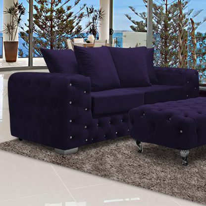 An Image of Worley Malta Plush Velour Fabirc 3 Seater Sofa In Ameythst