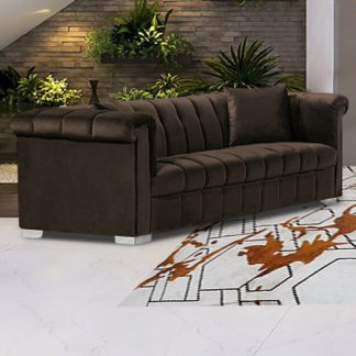 An Image of Kenosha Malta Plush Velour Fabric 3 Seater Sofa In Taupe