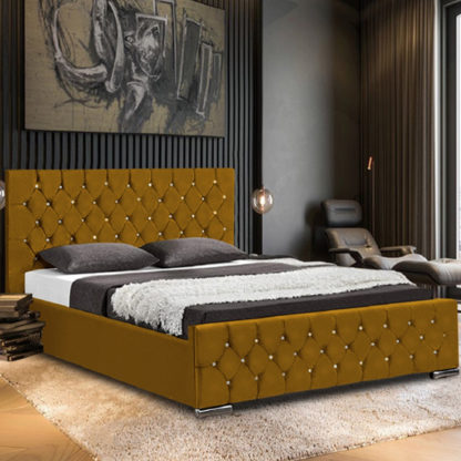 An Image of Papillion Plush Velvet Small Double Bed In Mustard