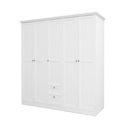An Image of Country Large Wooden Wardrobe In White With 5 Doors
