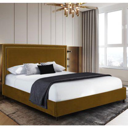 An Image of Sensio Plush Velvet Super King Size Bed In Mustard