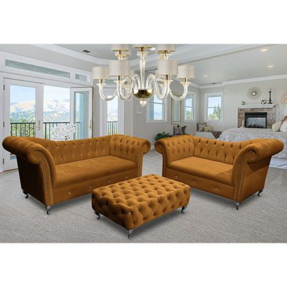 An Image of Izu Plush Velvet 2 Seater And 3 Seater Sofa Suite In Gold