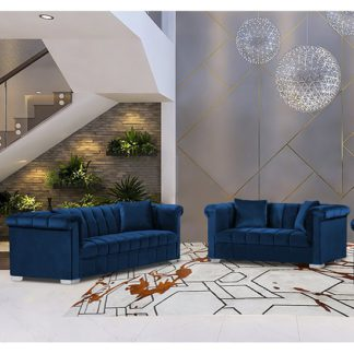 An Image of Kenosha Velour Fabric 2 Seater And 3 Seater Sofa In Navy