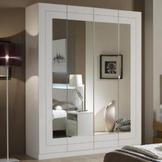 An Image of Kinsella Mirrored Wardrobe In Laquered White With Four Doors