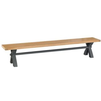 An Image of Tyler Large Wooden Cross Legs Dining Bench In Charcoal
