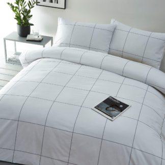An Image of Albi Cotton Woven Check King Duvet Set