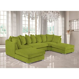 An Image of Boise U-Shape Plush Velvet Corner Sofa In Lemon