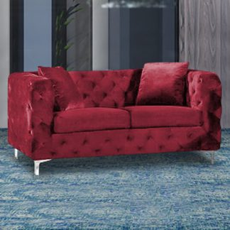An Image of Mills Malta Plush Velour Fabric 2 Seater Sofa In Red