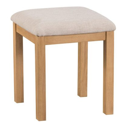An Image of Concan Wooden Dressing Stool In Medium Oak