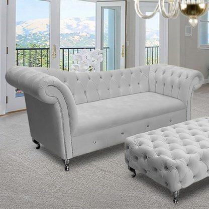 An Image of Izu Plush Velvet 3 Seater Sofa In Silver