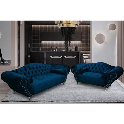 An Image of Huron Velour Fabric 2 Seater And 3 Seater Sofa In Navy