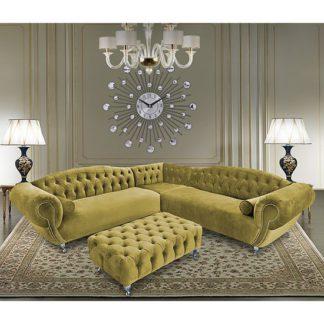 An Image of Huron Malta Plush Velour Fabric Corner Sofa In Grass