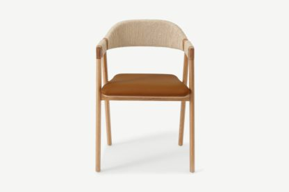An Image of Nishan Dining Chair, Tan Faux Leather & Oak