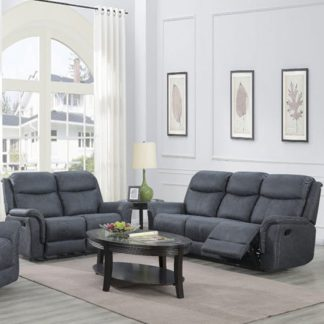An Image of Portland Fabric 3 And 2 Seater Sofa Suite In Slate Grey