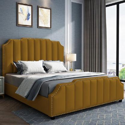 An Image of Abilene Plush Velvet Small Double Bed In Mustard