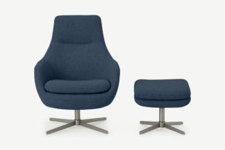 An Image of Modesto Reclining Accent Armchair Chair & Footstool, Midnight Weave