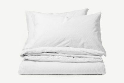 An Image of Veli 100% Cotton Plumetis Weave Duvet Cover + 2 Pillowcases, King, White