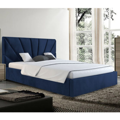 An Image of Hixson Plush Velvet Small Double Bed In Blue