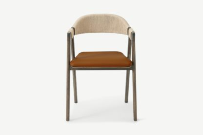 An Image of Nishan Dining Chair, Tan Faux Leather & Dark Stain