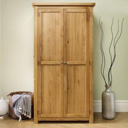 An Image of Woburn Wooden Wardrobe In Oak With 2 Doors