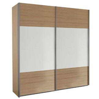 An Image of Kloss 2 Door Sliding Wardrobe, Sonomo Oak and White Glass
