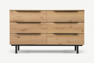 An Image of Damien Wide Chest of Drawers, Distressed Oak Effect & Black