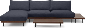 An Image of Zita Modular Chaise End Corner Sofa with 2 Side Tables, Kyoto Denim