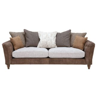 An Image of Darwin Extra Large Pillow Back Sofa, Leather and Fabric Mix