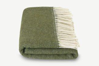 An Image of Burley Wool Throw, 125 x 170cm, Moss Green