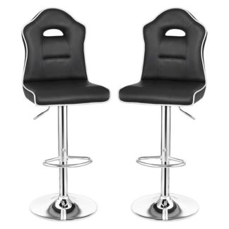 An Image of Sedalia Black Faux Leather Gas-Lift Bar Stools In Pair