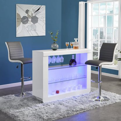 An Image of Fiesta White High Gloss Bar Table With 2 Ritz Grey White Stools