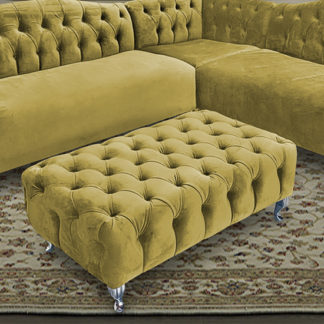 An Image of Huron Malta Plush Velour Fabric Footstool In Grass
